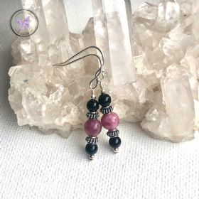 Pink & Black Tourmaline Silver Earrings